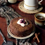Whole Wheat Cinnamon Spice Layer Cake with Chile Chocolate Sauce