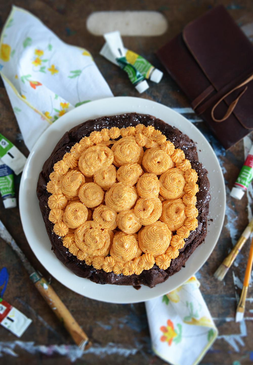 Flourless Dark Chocolate Torte with Roasted Carrot Buttercream // www.WithTheGrains.com