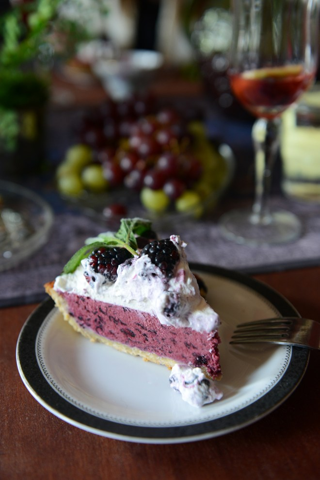 Frozen Blueberry Tart with Lavender Coconut Crust (Gluten-Free & Vegan) // www.WithTheGrains.com