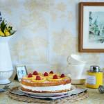 Whole Wheat Lemon Layer Cake with Lemon Rosemary Syrup & Candied Lemons