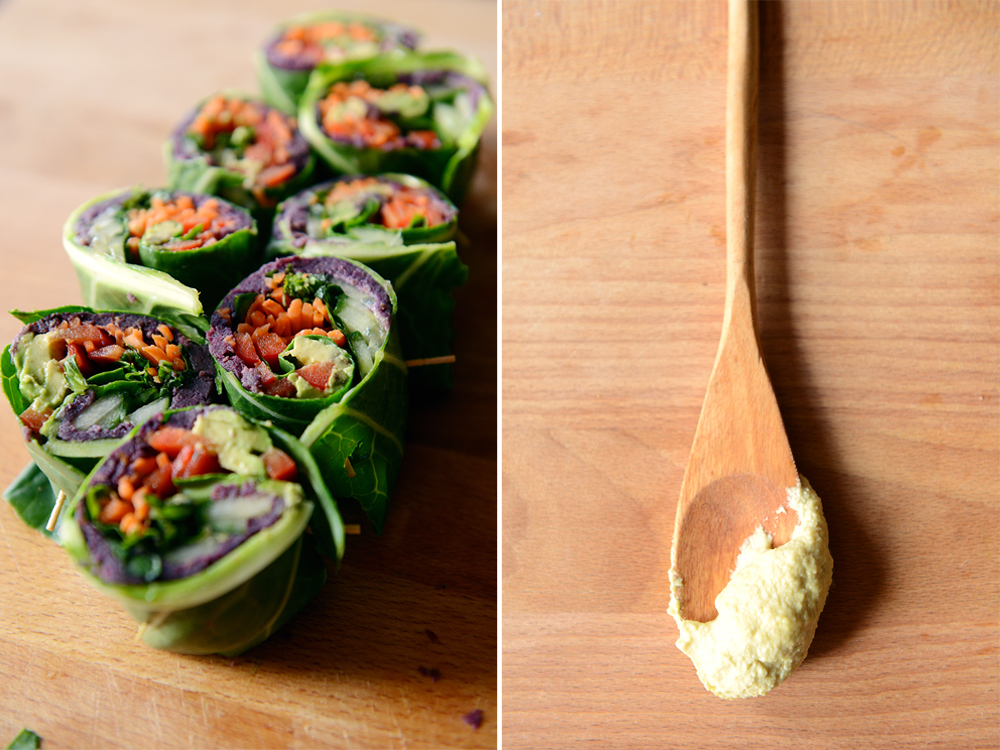 Collard Spring Rolls with Roasted Purple Sweet Potatoes // www.WithTheGrains.com