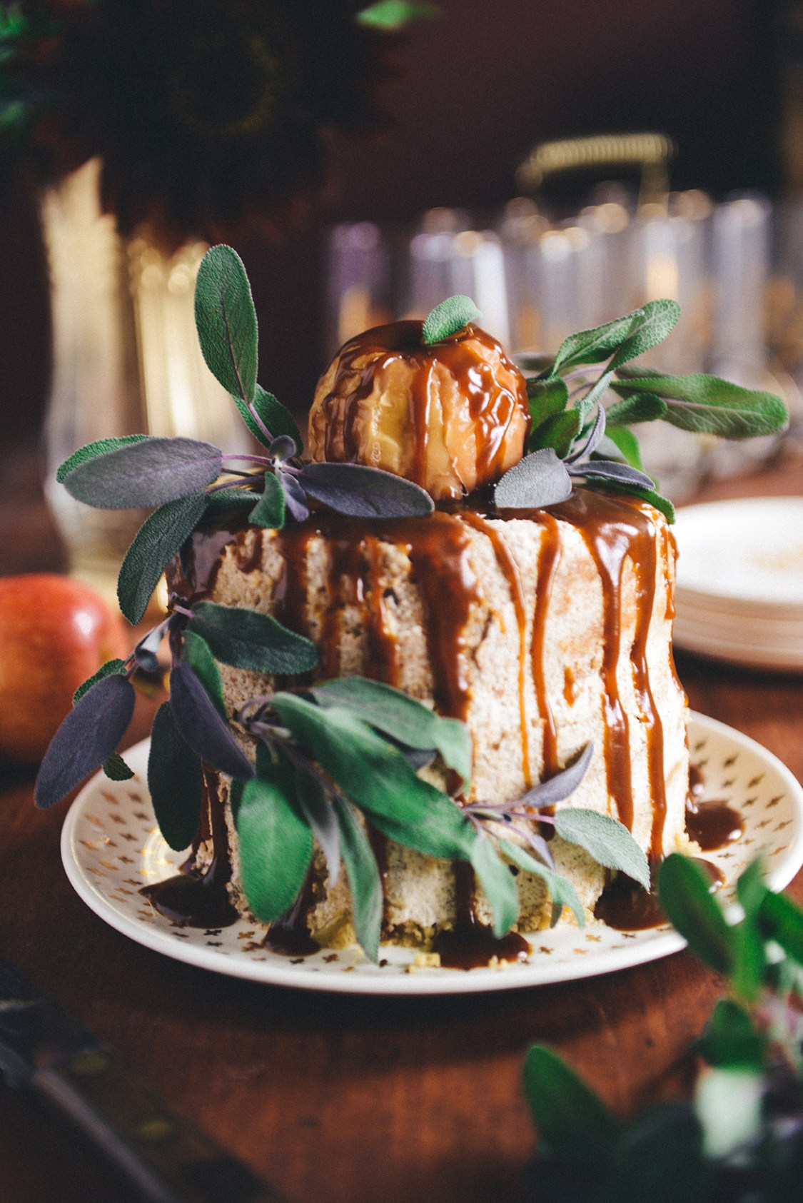 Brown Butter Apple Cake with Scotch Caramel // www.WithTheGrains.com