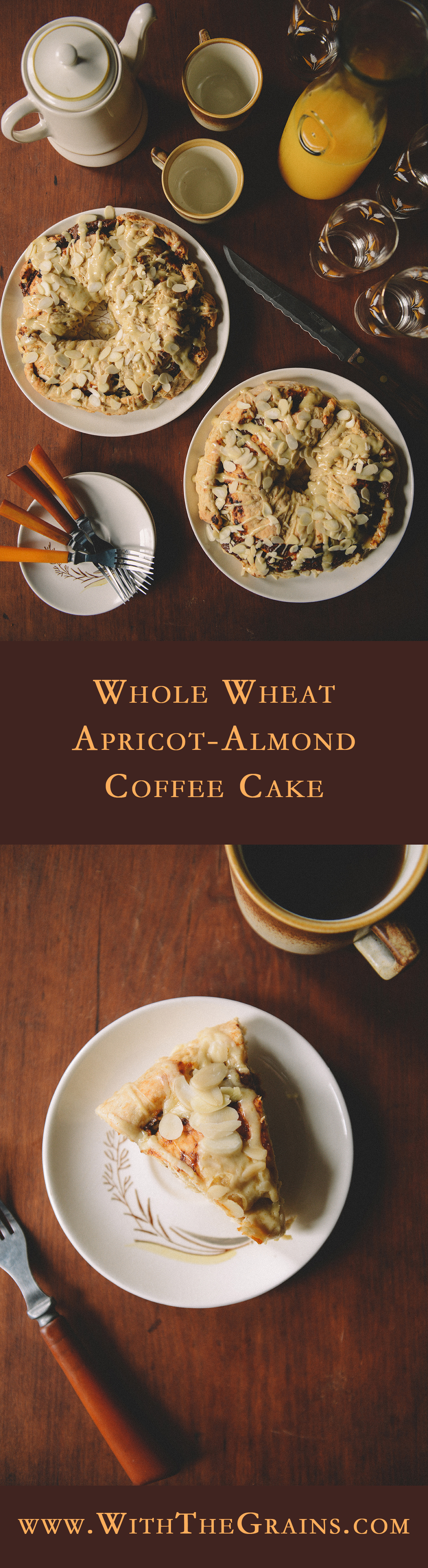 Whole Wheat Apricot-Almond Coffee Cake // www.WithTheGrains.com