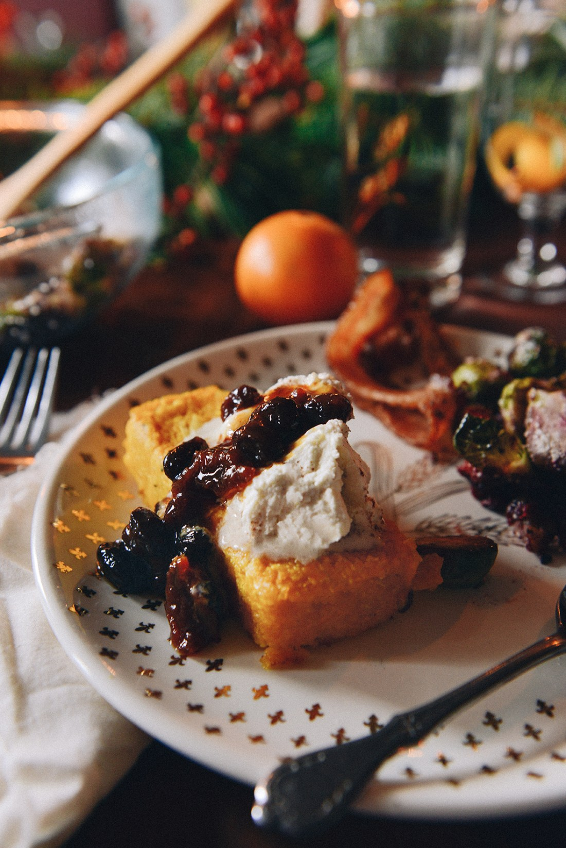 Butternut Squash Polenta w/ Stewed Fruit & Whipped Mascarpone for a Wintry Brunch // www.WithTheGrains.com