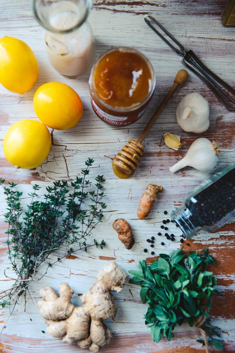 Homemade Herbal Cough Suppressant with Lemon & Turmeric