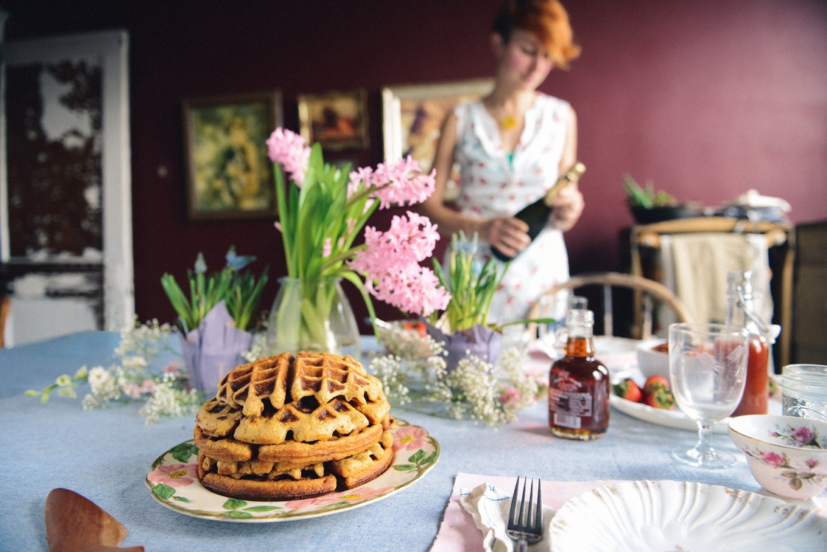 A Spring Brunch featuring Rhubarb Simple Syrup, Rhubarb Compote & Cornmeal Basil Waffles // www.WithTheGrains.com