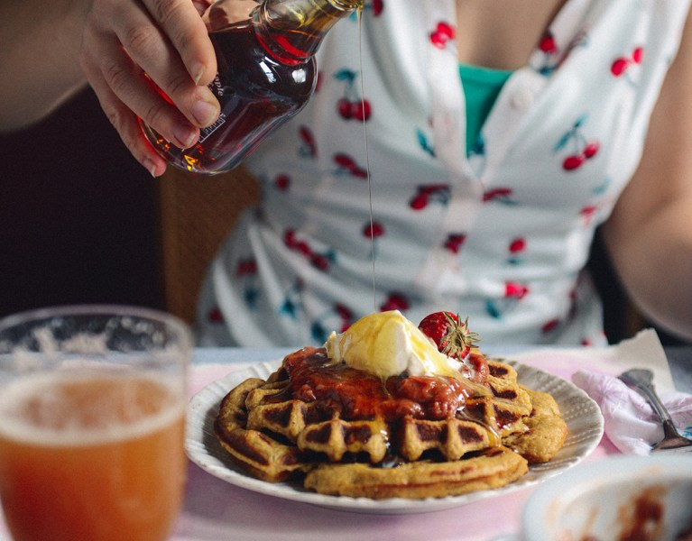 A Spring Brunch featuring Rhubarb Simple Syrup, Rhubarb Compote & Cornmeal Basil Waffles