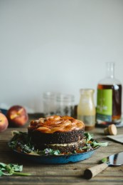 Spelt Peach Whiskey Cake with Smoked Sea Salt Caramel & Caramelized Peaches // www.WithTheGrains.com