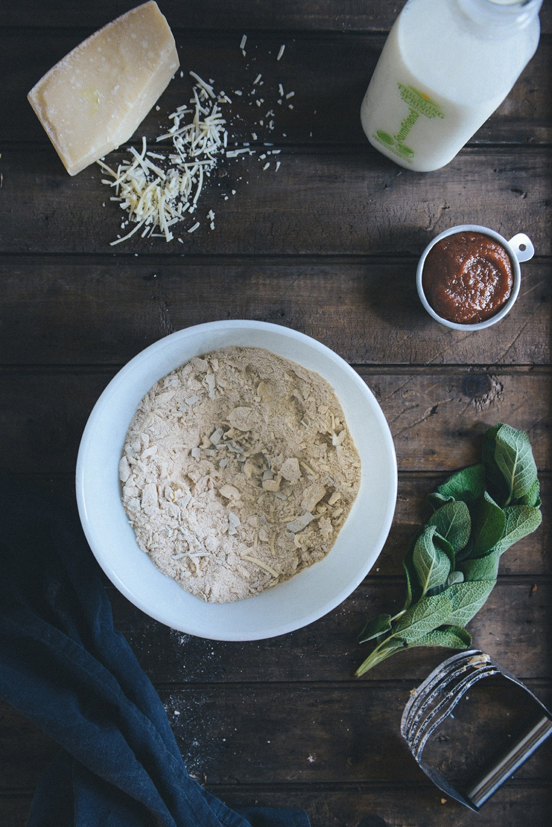 Whole Grain Apple Butter Parmesan Biscuits with Honey Sage Syrup // www.WithTheGrains.com