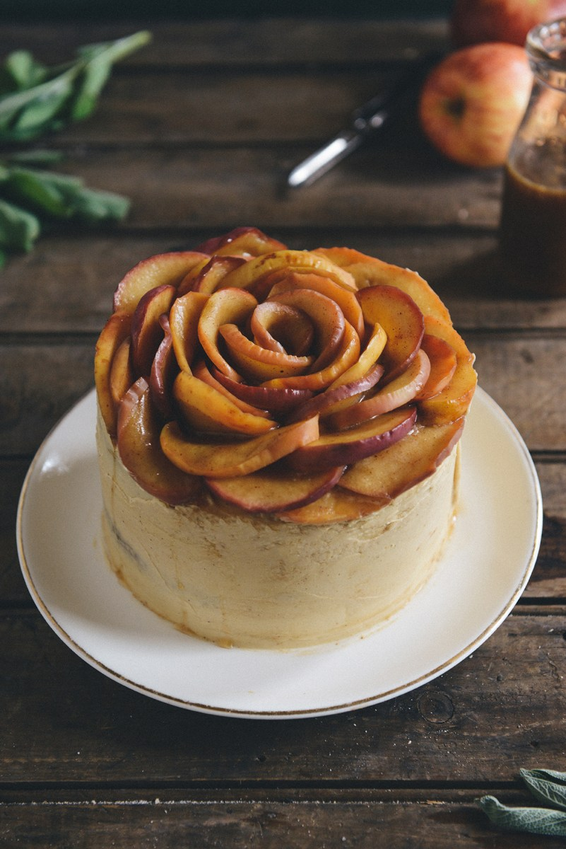 Whole Grain Apple Sage Spice Cake with Salted Caramel Buttercream