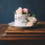 Rose Water Chocolate Chunk Layer Cake with Rose Water Frosting & Rose Macarons