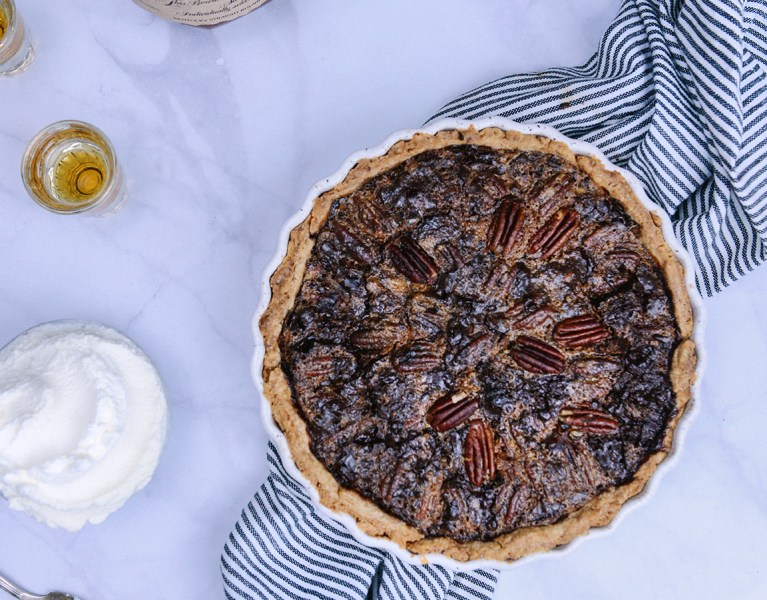 Whole Grain Chocolate Pecan Tart with Bourbon Whipped Crème Fraîche