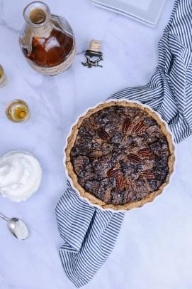 Whole Grain Chocolate Pecan Tart with Bourbon Whipped Crème Fraîche // www.WithTheGrains.com