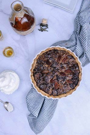 Whole Grain Chocolate Pecan Tart with Bourbon Whipped Crème Fraîche // www.WithTheGrains.com