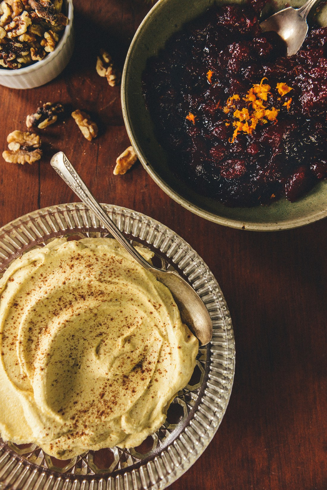 Whole Grain Pumpkin Crepes with Cranberry Sauce, Walnuts & Pumpkin Spice Whipped Cream // www.WithTheGrains.com