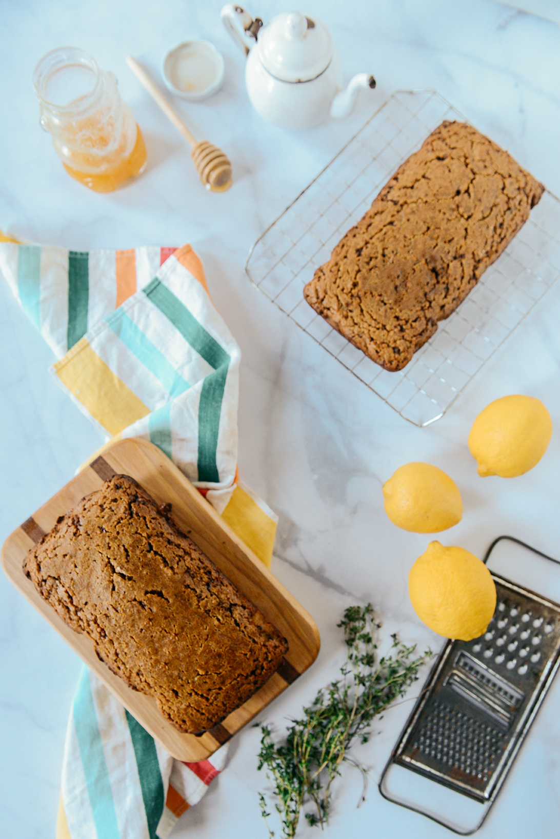 Whole Grain Lemon Quick Bread with Coconut Sugar & Honey Candied Lemons // www.WithTheGrains.com