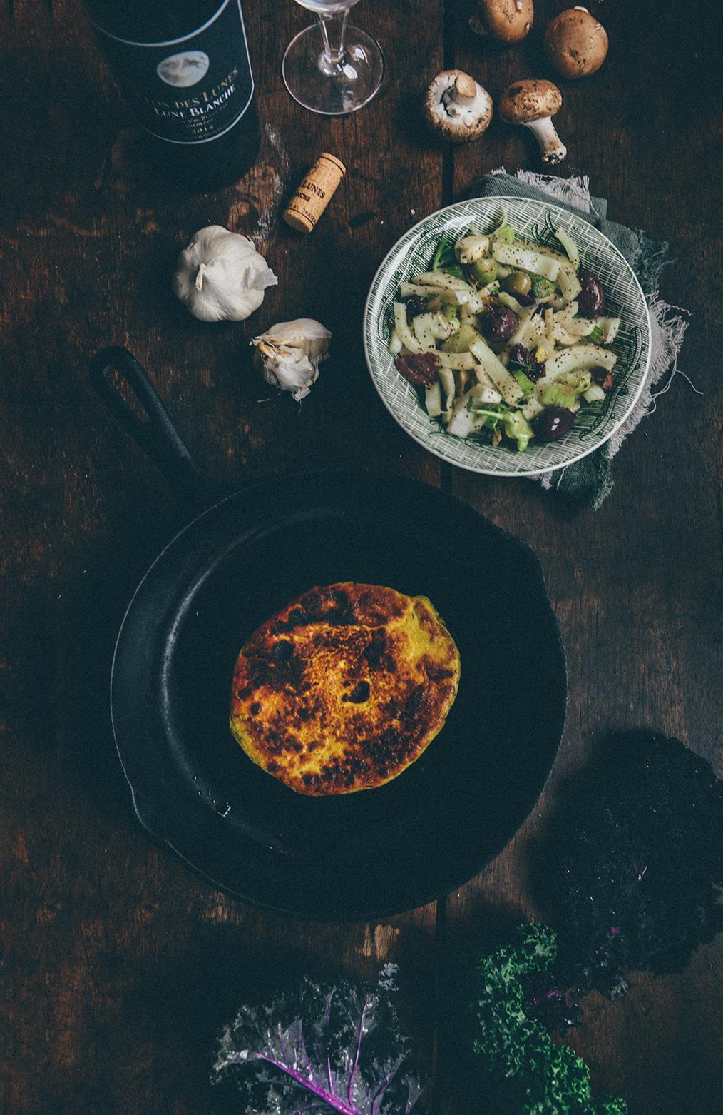 "Socca: A Chickpea Flour Savory Pancake (aka a ""Cromlet"") with Fennel Olive Salad & Yogurt Sauce // www.WithTheGrains.com"