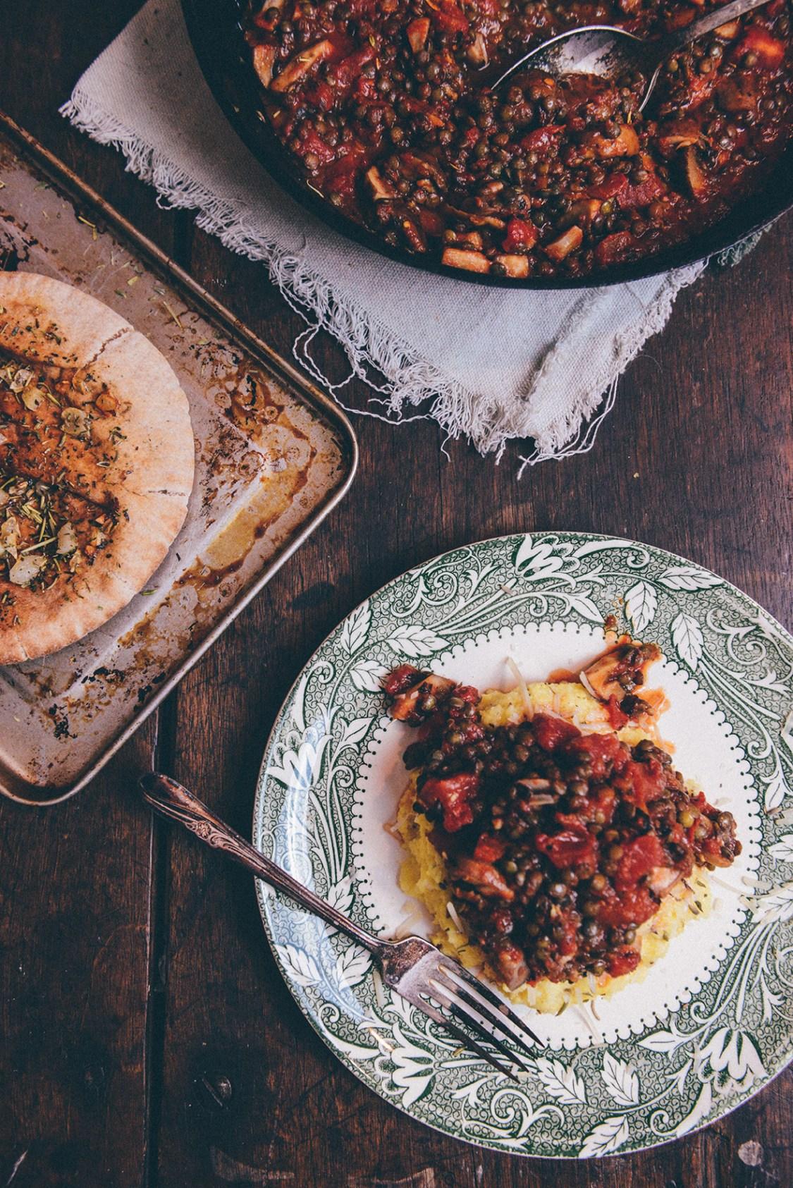 "Vegetarian Polenta ""Bolognese"" with Garlic Flatbreads + Leftovers Mezze // www.WithTheGrains.com"