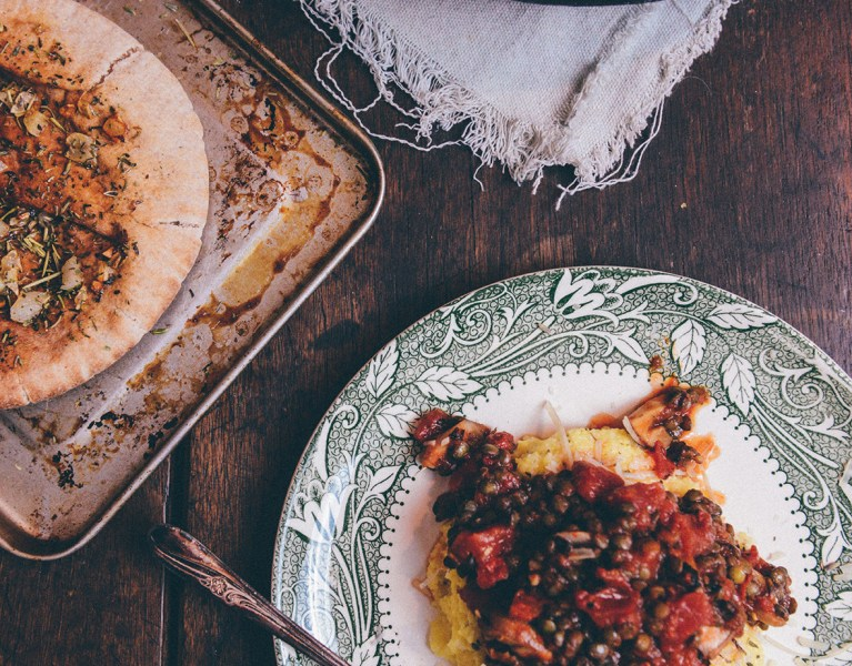 "Vegetarian Polenta ""Bolognese"" with Garlic Flatbreads + Leftovers Mezze"