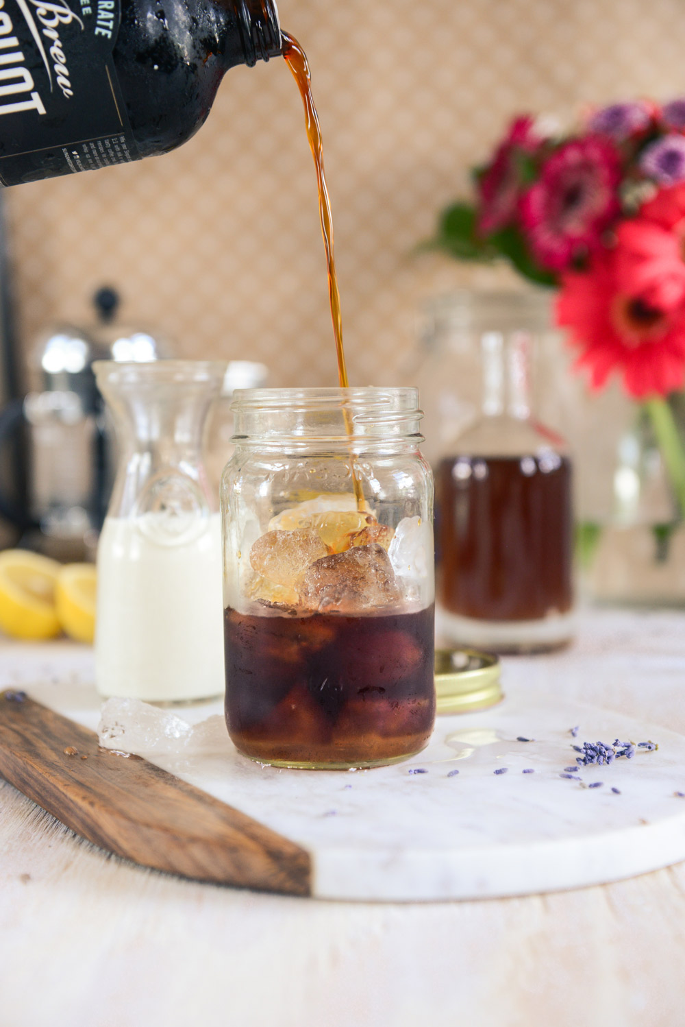 Lavender Simple Syrup for Iced Lattes // www.WithTheGrains.com