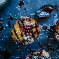 Healthy Sweets: Chocolate Drizzled Peaches with Bourbon Whipped Cream