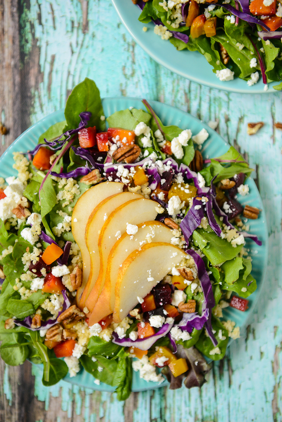 Harvest Salad with Roasted Beets and Squash // www.WithTheGrains.com