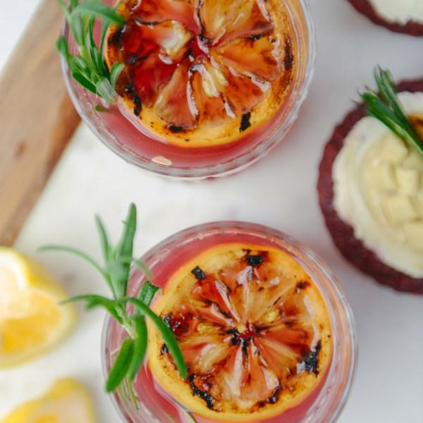 Grilled Lemon Rose Vodka Cocktails for Valentine's Day // www.WithTheGrains.com