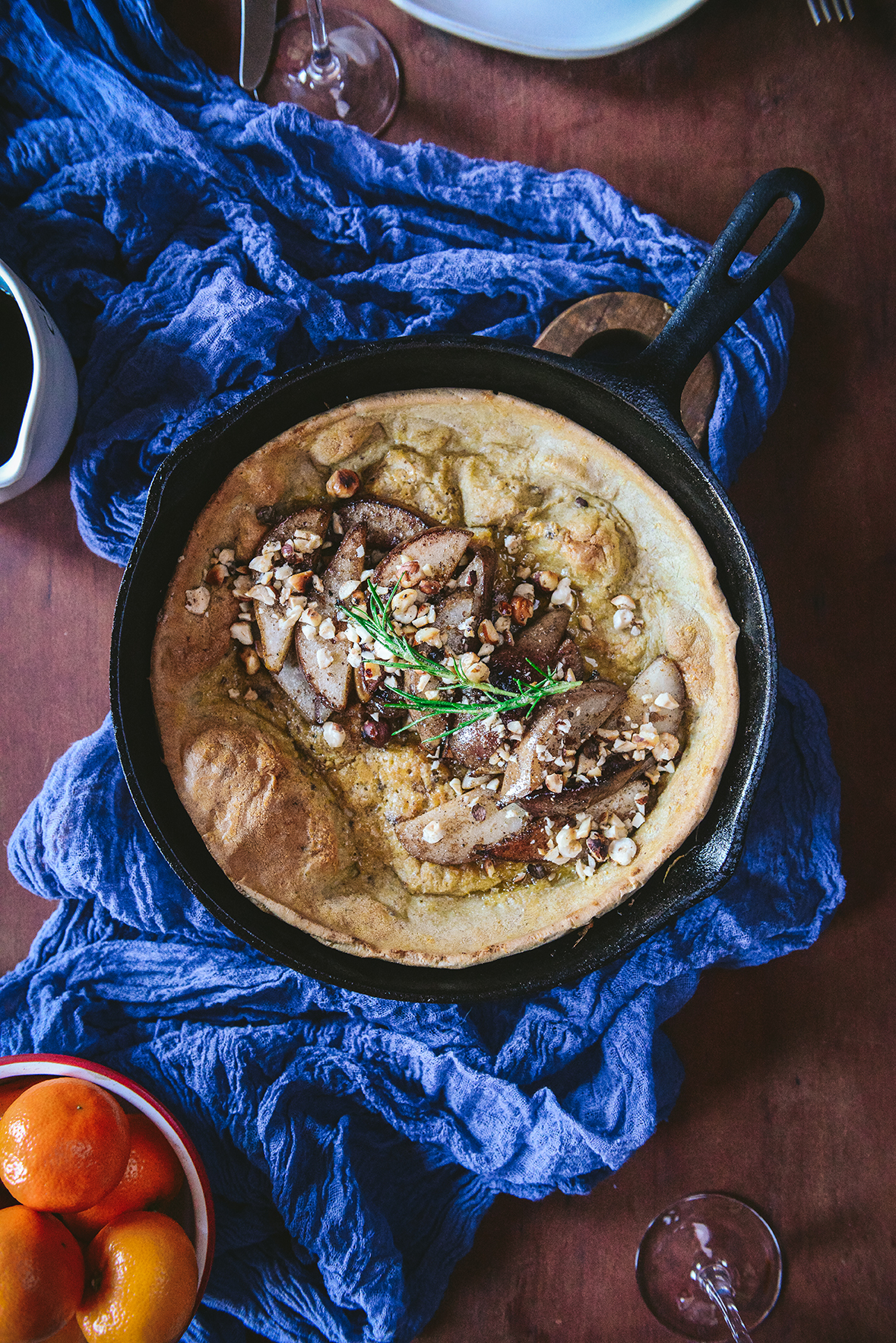 Gluten Free Dutch Baby with Sautéed Pears & Hazelnuts // www.WithTheGrains.com