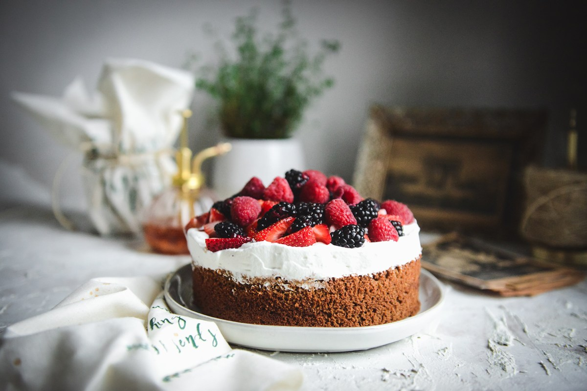 Gluten-Free Vanilla Butter Cake with Whipped Cream and Summer Berries // www.WithTheGrains.com