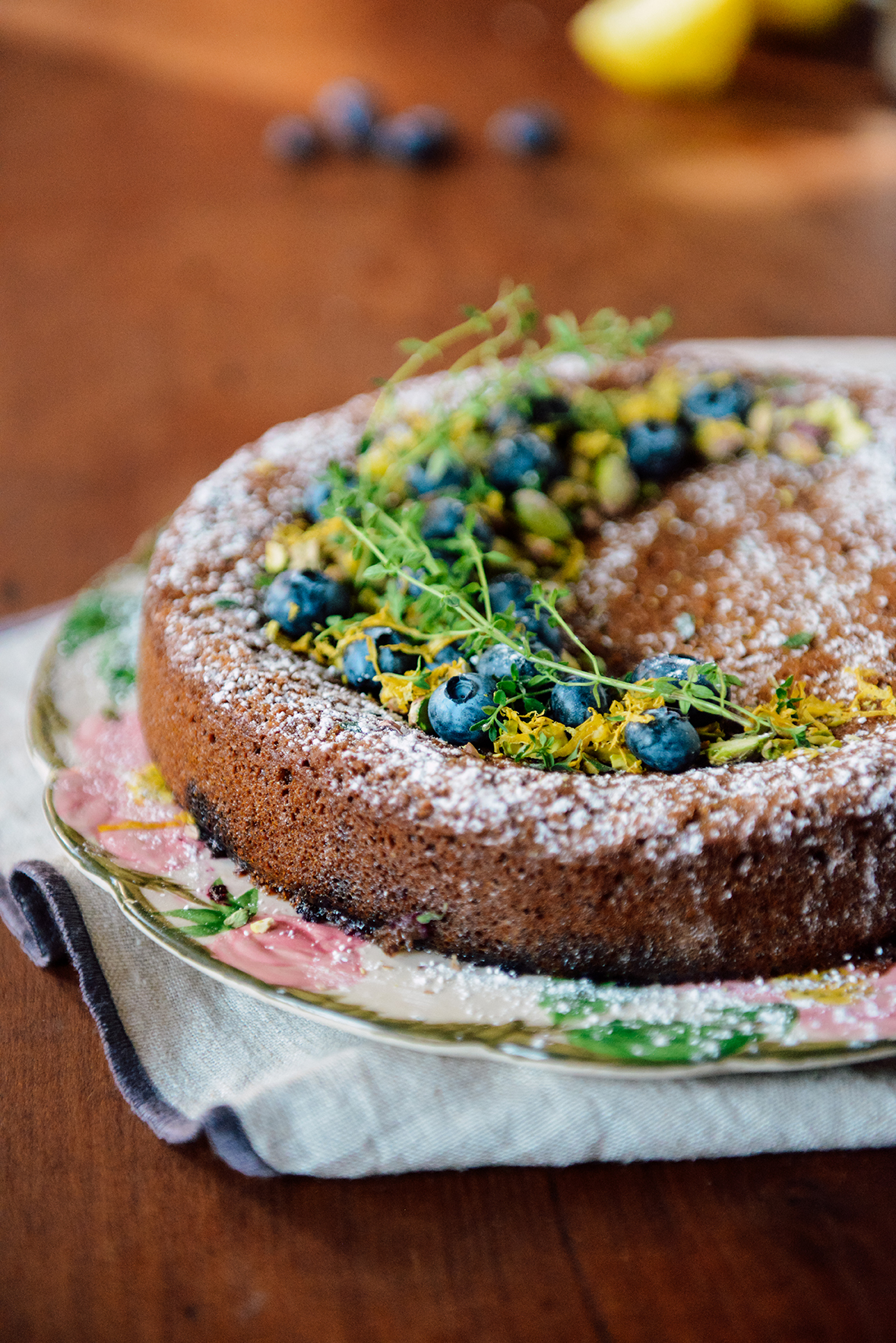 Gluten Free Lemon Blueberry Cake with Pistachios and Thyme // www.WithTheGrains.com