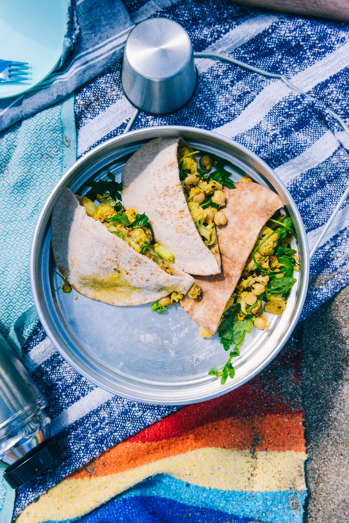A Vegan Beach Picnic with Curried Cauliflower Wraps  // www.WithTheGrains.com
