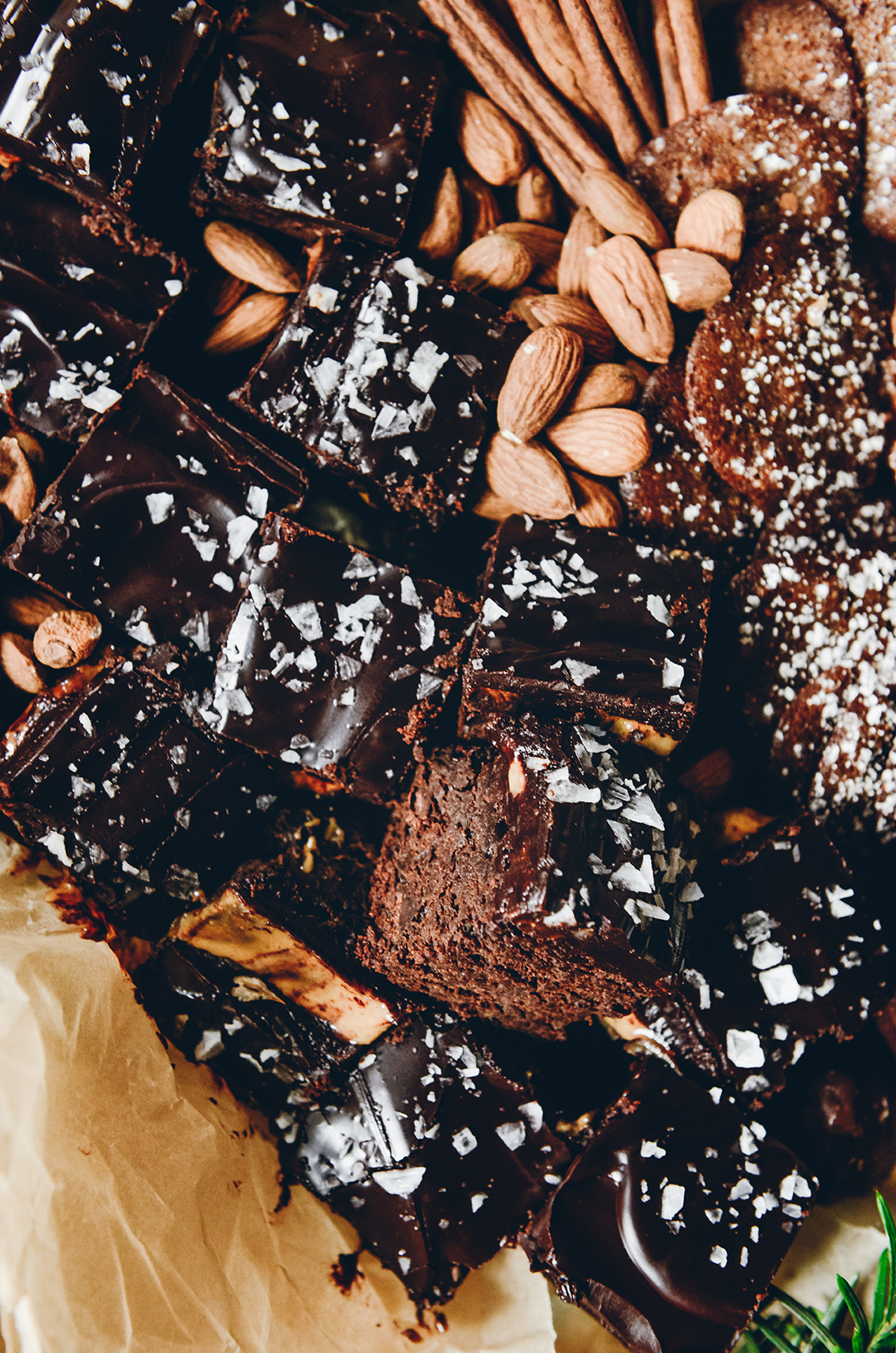 Salted Peanut Butter Ganache Brownies // www.WithTheGrains.com