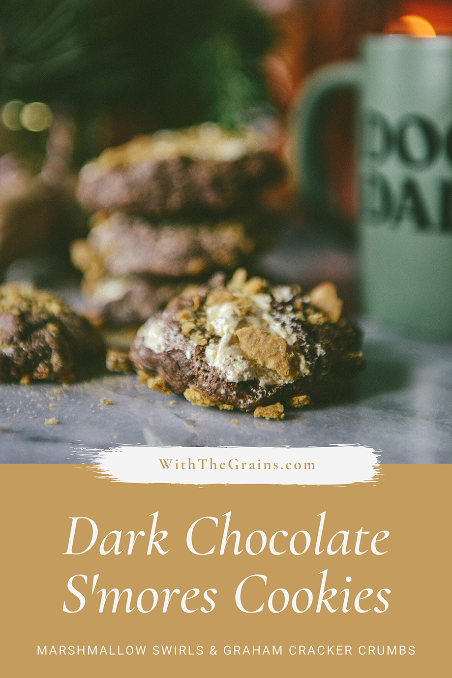 Whole Grain Smores Cookies // www.WithTheGrains.com