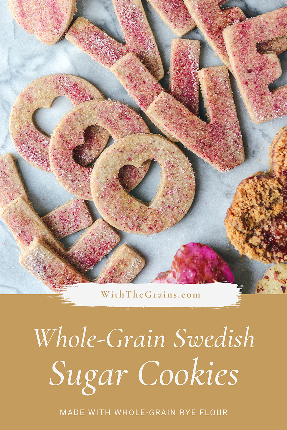 Whole-Grain Swedish Rye Cookies with Pink Pitaya Sugar // www.WithTheGrains.com