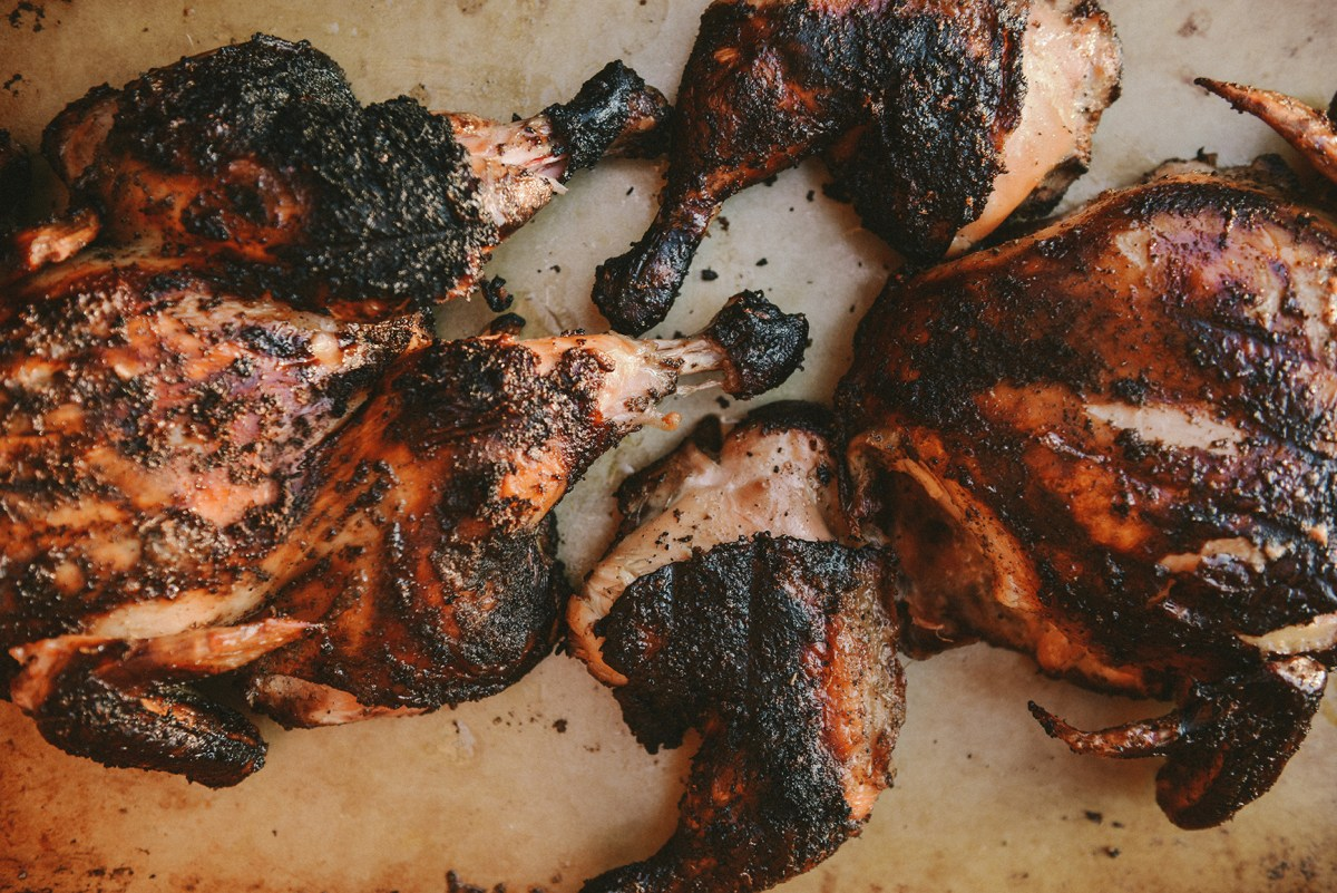 Smoked & Spatchcocked Chicken // www.WithTheGrains.com