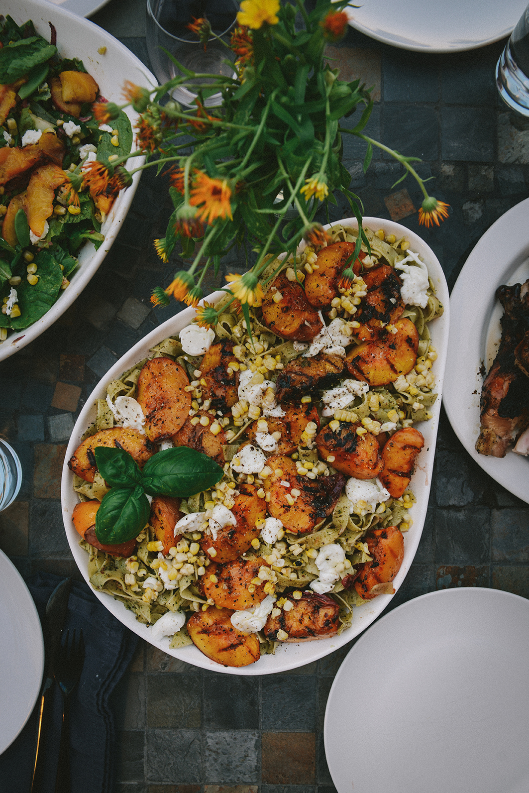 Collaborative Gatherings with Grilled PeachNectarine Pasta // www.WithTheGrains.com