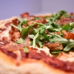 Prosciutto, Shallot, and Arugula Pizza