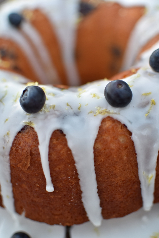 Lemon Blueberry Bundt closeup