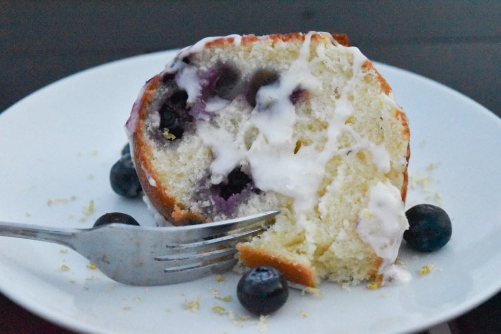 Lemon Blueberry Bundt slice