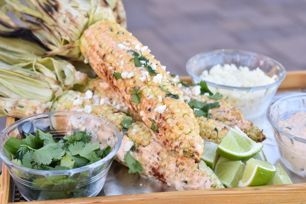 Mexican Street Corn on a tray