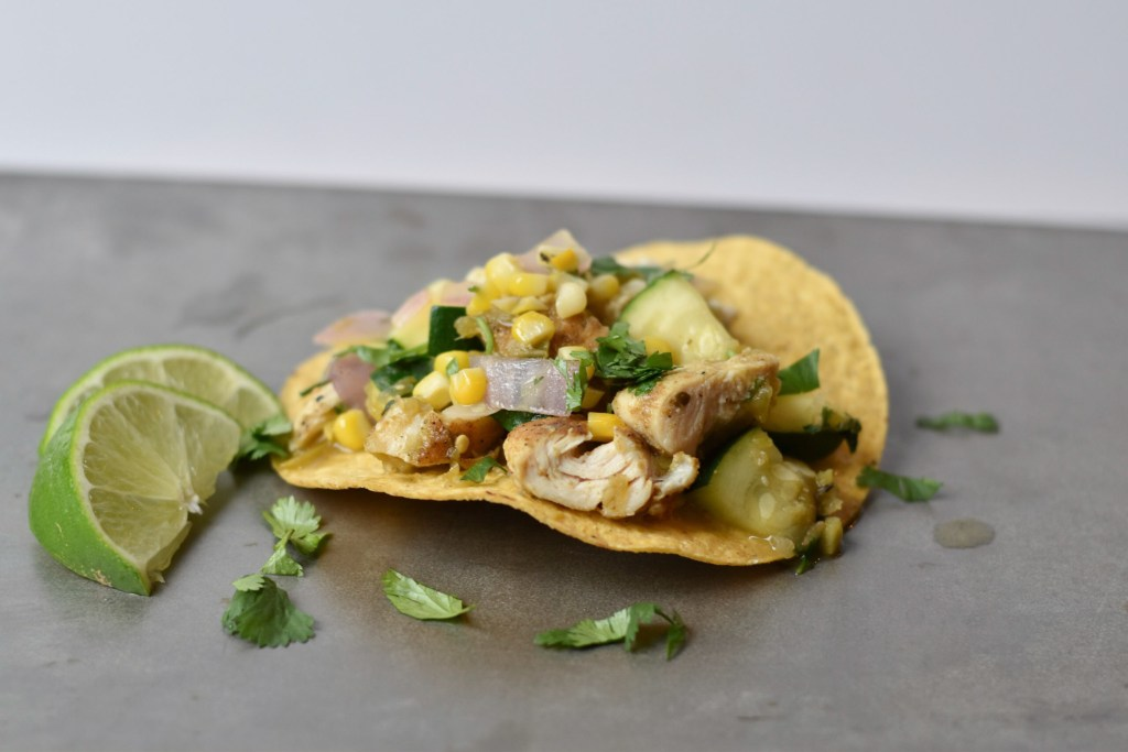 Sweet corn, zucchini, and chicken tostadas