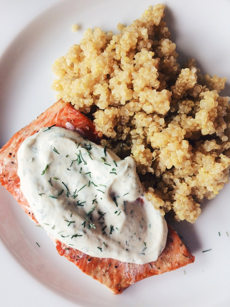 Roasted Salmon with Yogurt-Mustard Dill Sauce Good (Food) Reads