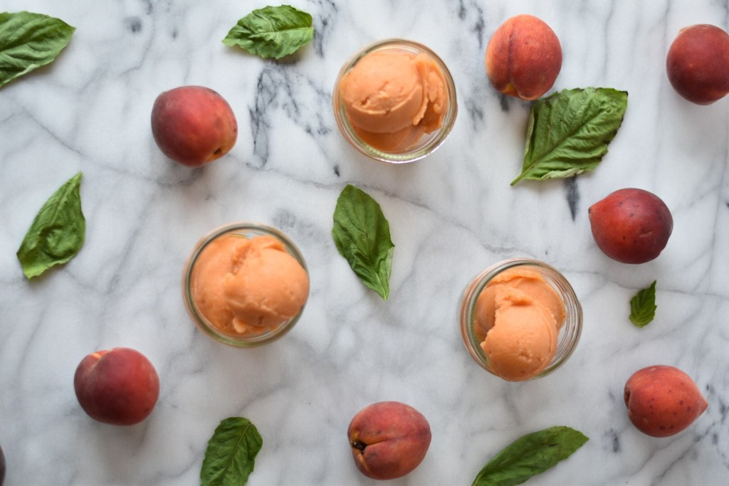 Balsamic Peach and Basil Sorbet