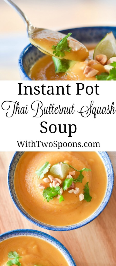 Instant Pot Thai Butternut Squash Soup Pinterest long pin