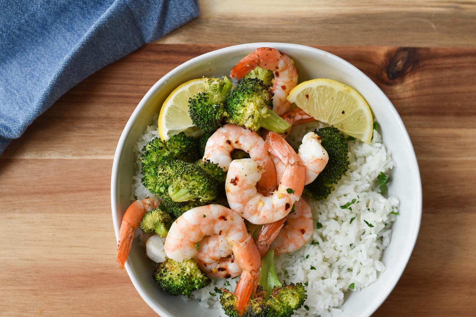 Lemon Roasted Shrimp with Broccoli and Rice