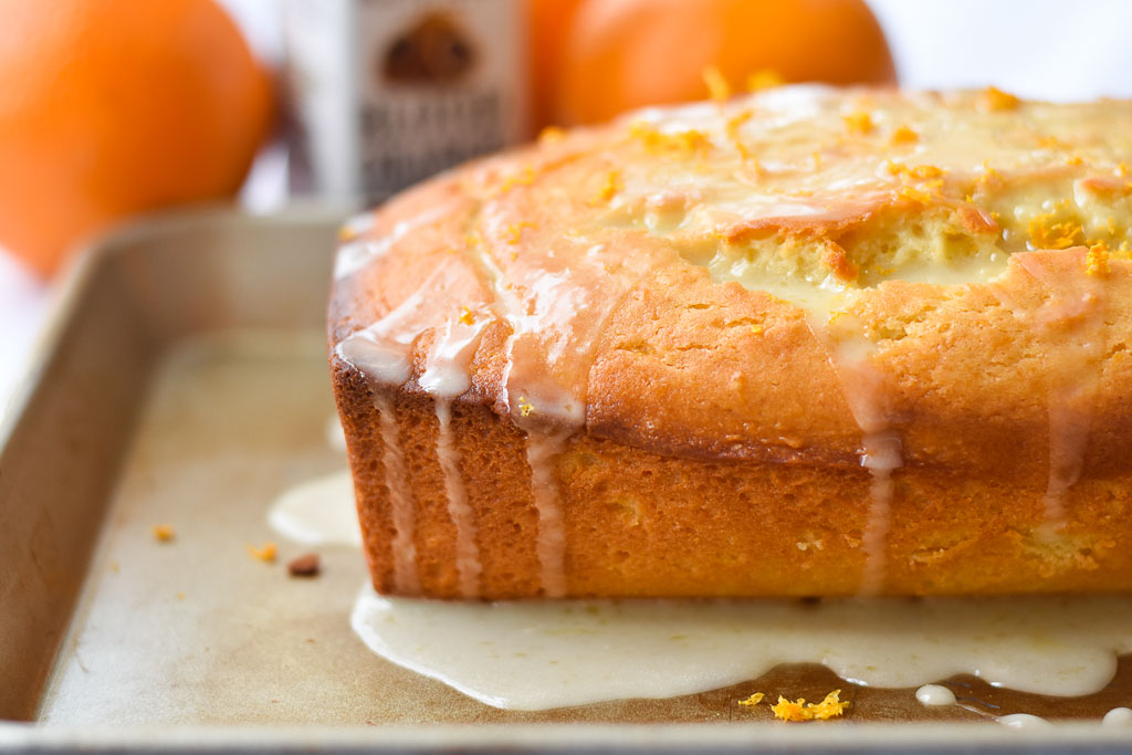 Quick Glazed Orange Bread close up