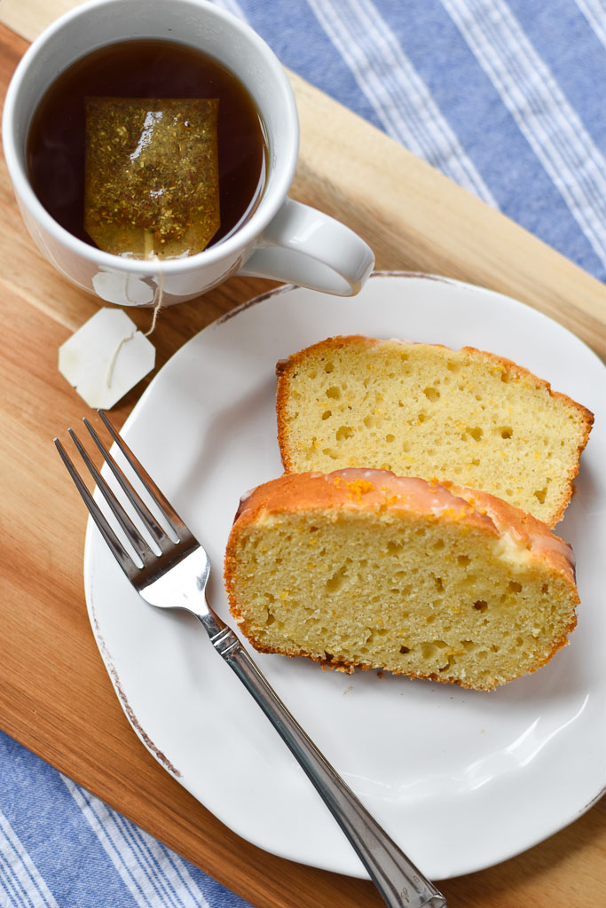Quick Glazed Orange Bread with a cup of tea