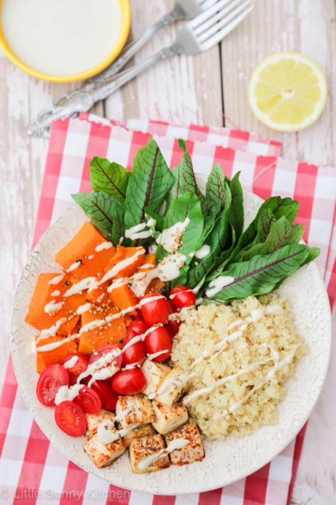 Quinoa Recipe Round Up Quinoa Bowl with Tahini Dressing