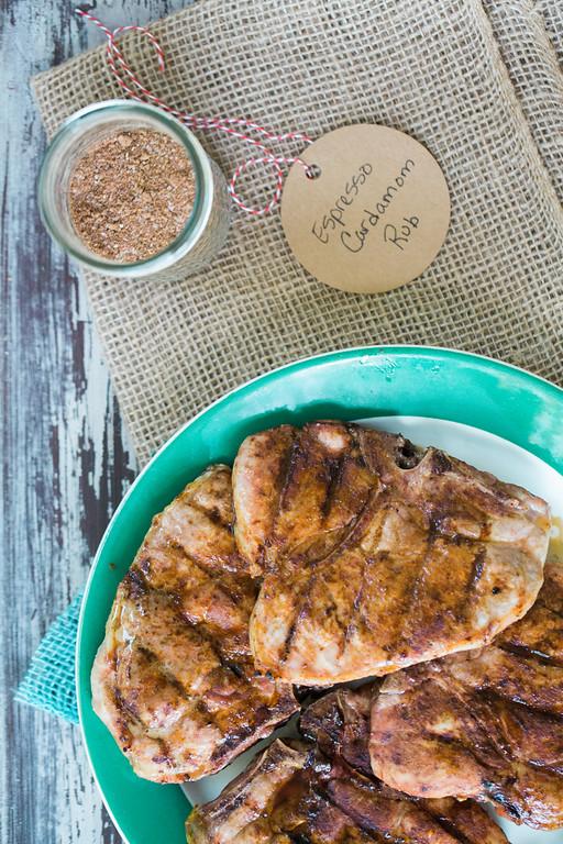 Grilled Pork Chops with Espresso Cardamom Rub by Sidewalk Shoes