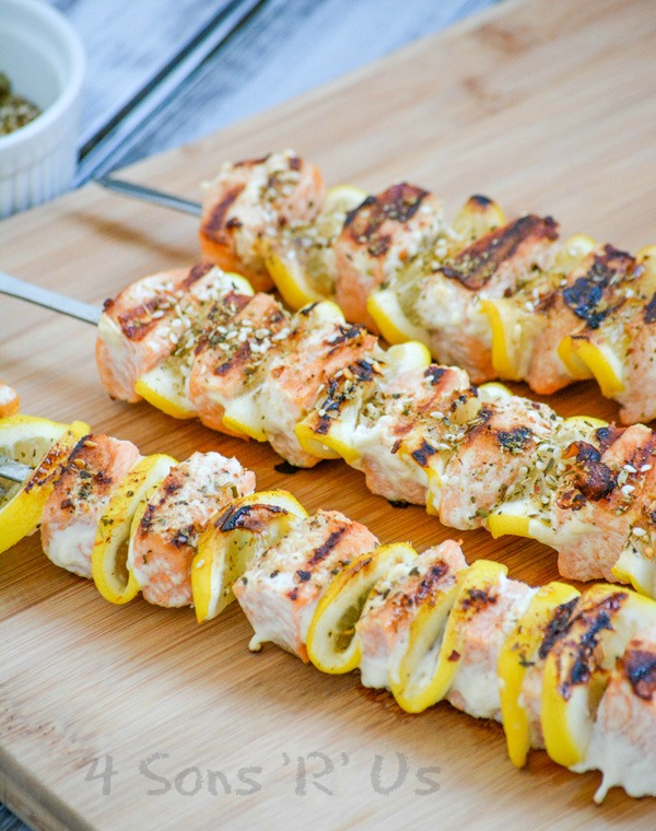 Grilled Herb Lemon Salmon Kabobs by 4 Sons 'R' Us